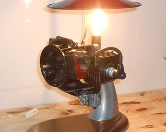 Desk lamp made from weed wacker motor