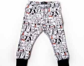 baby boy or girl dog leggings, toddler monochrome dog harem pants, unisex baby pants, cloth diaper pants, trendy baby clothes, Baby Gift