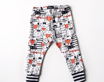 baby boy or girl cat leggings, toddler monochrome cat harem pants, cloth diaper pants, trendy baby clothes, cat lover gift