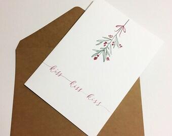Holiday Greeting Card ~ Christmas Card ~ Mistletoe Note