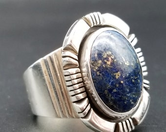 Vintage Sterling Silver & Natural Blue Lapis Lazuli Solitaire Ring - Size 11.5 - Ships Free
