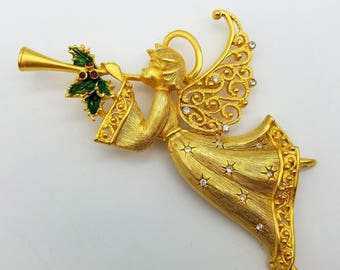 Large Vintage Gold Tone Christmas Herald Angel Brooch With Holly & Rhinestones by Jonette Jewelry