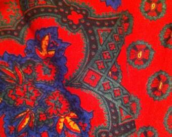 Vintage 1980s French Cotton Scarf: Souleiado