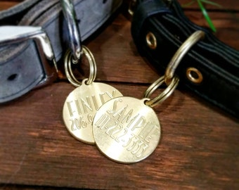 Brass Dog tag identification tag custom monogrammed