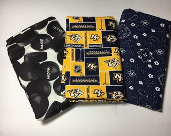 predators hockey fabric, reversible custom pet bandanas, sizes XS-XL, dog scarf, pet scarf, dog bandana, pet clothing, pet attire, pet wear