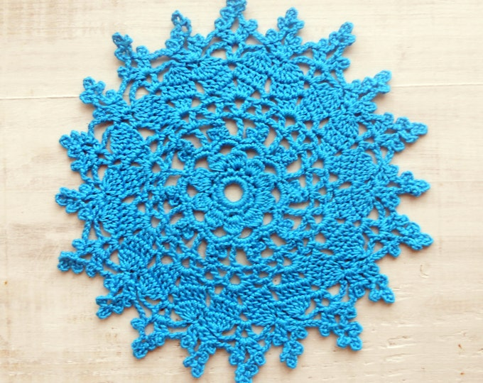 5 inch Handmade Crochet Doily, Crochet Blue Doily, Blue Coaster, Table Decoration, Blue Home Decor, Housewarming Gift, Gift for Her, Blue