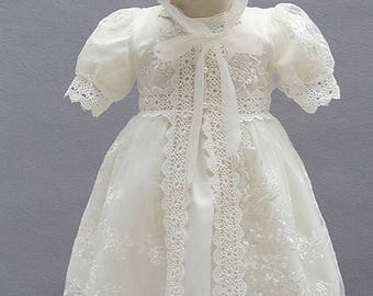 Baby girl christening gown, baby girl vintage inspired baptism dress, baby girl lace dedication dress, baby baptism dress, baby christening.