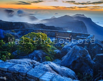 Landscape Photography, Sunset on Table Mountain, Cape Town, South Africa Art , Mountain Photography, Blue, Landscape Print Art, Wall Picture
