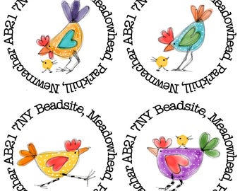 35mm round Chicken address stickers