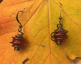 Wire wrapped red and black earrings