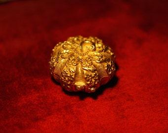 Gold Fairy Tale Pumpkin, perfume compact, Natural Solid Perfume,vintage perfume compact, owl jewelry