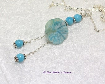 Turquoise Necklace   Blue Necklaces For Women   Flower Jewellery   Jasper Pendant   Floral Necklace   Birthstone gifts   Gemstones  A0454