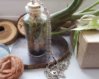 STACKED TERRARIUM Pendant ~ Natural Jewelry, Earth Jewelry, Nature, Hippie, Boho, Terrarium, Green Witch, Cottage Witch, Grounding, Lucky