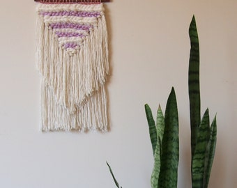 Woven Wall Hanging // Purple // White // Copper