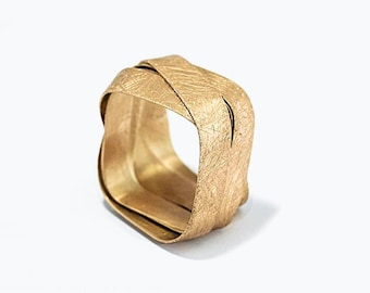 14K Yellow Gold Ring, Square Ring, Statement Ring, Contemporary Ring, Solid Gold Band, Wrapping Ring, Wrap Band, Gold Ring Israel Jewelry