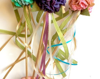 Felt Fairy Wand - Ruffle Blossoms in shades of pink, purple or blue with gold or silver and green leaves