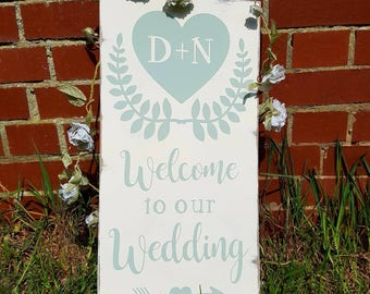 Welcome Wedding Sign - Welcome reception sign - Wedding Sign - Rustic Wedding Decor - Wedding Signage - Personalised Wooden Wedding Sign