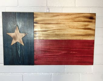 Torched Rustic Texas Flag