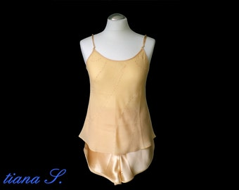 Seidenshorty gold, embroidered, nightwear, size S