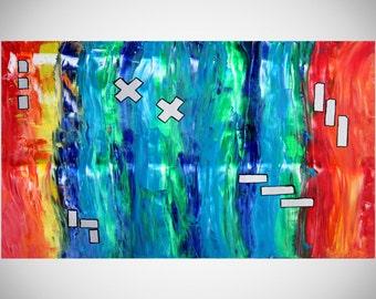"Large Acrylic painting original  abstract wall art canvas art modern art  36""x24"""