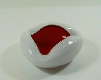 Vintage Red and White Glass Ashtray, Art Glass Ashtray, Mid-Century Glass Dish, Murano Glass? Retro Triangular Glass Ashtray