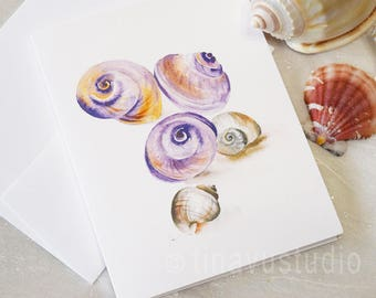 seashell watercolor, seashell painting, nautical artwork, folded blank greeting card, digital printed card, nautical decor, seashell print
