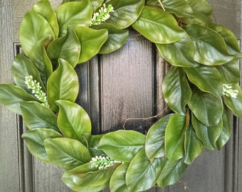Magnolia Leaf Wreath | Fixer Upper Magnolia Wreath | Magnolia Wreath | Year Round Wreath | Realistic Magnolia Wreath | Magnolia Leaves