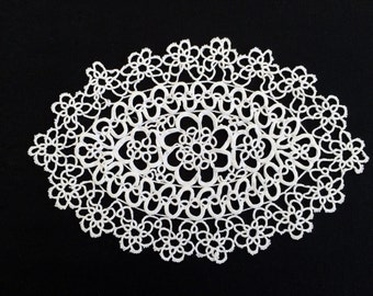 Vintage Oval Tatted Lace Doily. Tatted White Cotton Lace Doily. White Oval Doily. RBT1186