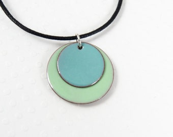 Enamel Pendant Round Blue and Seafoam Green Enamel and Copper Necklace