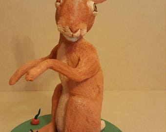 Clay  Hare sculpture 26cm hand made unique
