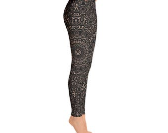 Apricot Yoga Pants - Black Leggings with Peach Mandala Designs for Women, Printed Leggings, Pattern Yoga Tights