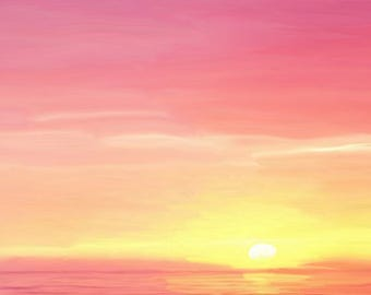 Pink Sunset Painting—Limited Edition, Signed Giclee Prints
