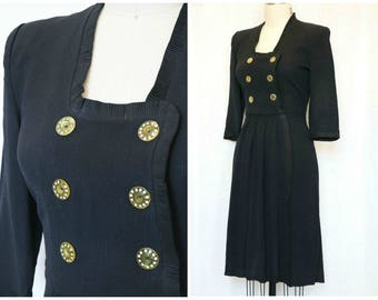 1940s Black Rayon Crepe Dress, Size Medium, Vintage Fourties Dress, Lucite and Rhinestone Buttons, Vintage Black Dress, Size Medium
