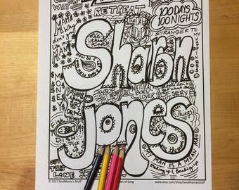 Sharon Jones Coloring page, Ladies of Song, digital download, 8.5X11 PDF file, black and white, Adult coloring, doodles, Musical Heroes