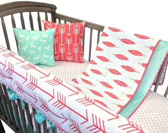 Coral Arrow Crib Bedding with Rail Guard- 4 Piece Set- Coral Mint