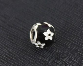 New Authentic Pandora Charm Bead Floral Black White Enamel 791398ENMX