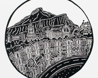 Edinburgh (Original Linocut Print)