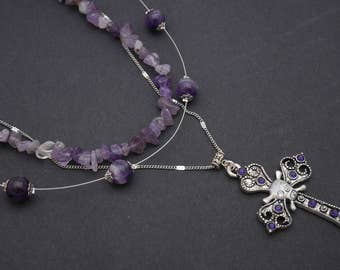 Gothic necklace, amethyst chocker, double necklace, long cross necklace