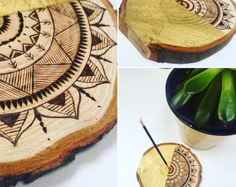 Incense holders- Woodburned intricate mandala *Boho**Rustic**Mandala*