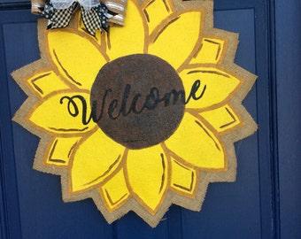 Burlap Wreath Sunflower Door Hanger