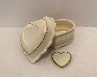 Vintage Adante Musical Heart Shaped Porcelain Jewelry Trinket Box