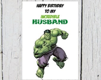The Incredible Hulk Birthday Card (Superhero, Marvel, Husband, The Avengers, Hulk Smash)