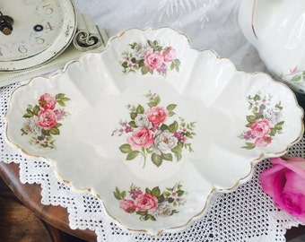 Pretty Vintage James Kent Old Foley 'Harmony Rose' Large Scalloped Dish
