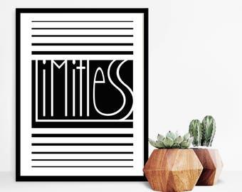"""Wall Art Print, grenzeloos, citeer Print, typografie, Art Prints, inspirerende Print, zwart-witte kunst, minimalistische Print, 9 """"x 12"""""""