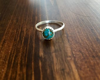 Tiny round Turquoise Sterling Ring- size 4.5, 6, 7.5