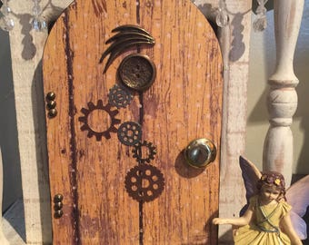 Steam Punk Fairy Door, Miniature Steam Punk Fairy Door, Steam Punk Gnome Door, Steam Punk Door