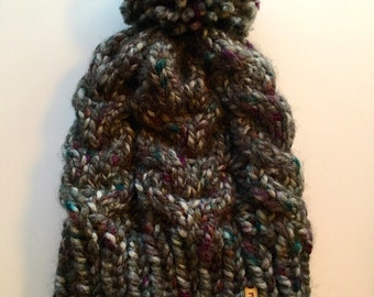 Chunky Cable-Knit Hat // THE MAREN // Abalone