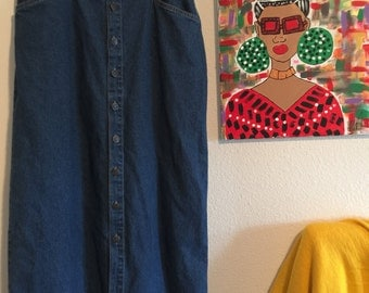 Vintage 70s Denim Button Down Skirt-size 12