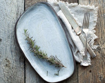 Organic white serving platter farmhouse style