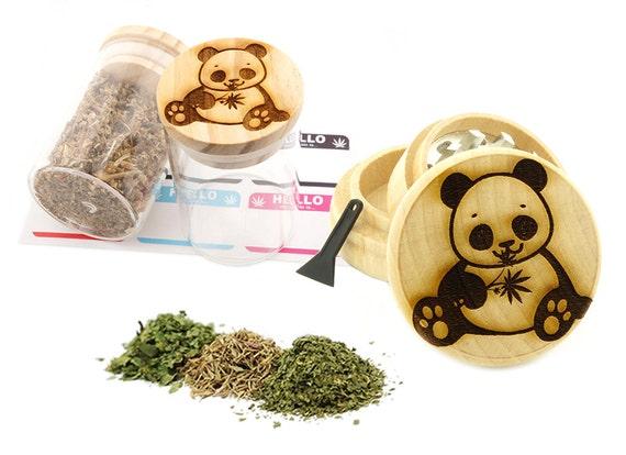 Panda Chewing Leaf Engraved Premium Natural Wooden Grinder & Wood Lid Glass Jar Gift Set # GS103116-26